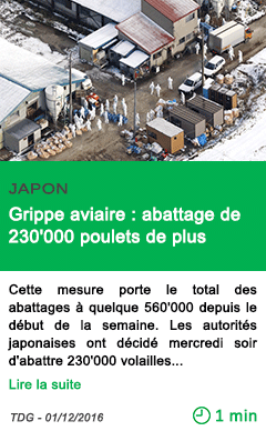 Science japon grippe aviaire abattage de 230 000 poulets de plus
