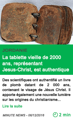 Science jordanie la tablette vieille de 2000 ans representant jesus christ est authentique