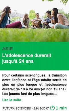 Science l adolescence durerait jusqu a 24 ans