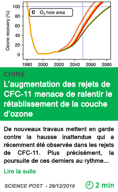 Science l augmentation des rejets de cfc 11 menace de ralentir le retablissement de la couche d ozone