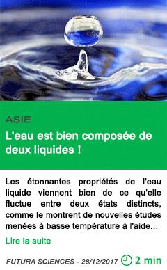 Science l eau est bien composee de deux liquides