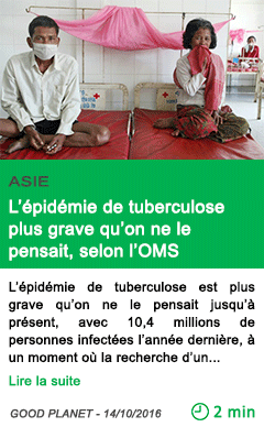 Science l epidemie de tuberculose plus grave qu on ne le pensait selon l oms