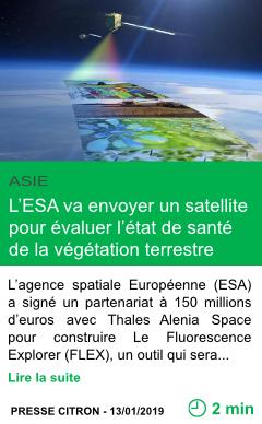 Science l esa va envoyer un satellite pour evaluer l etat de sante de la vegetation terrestre page001