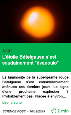 Science l etoile betelgeuse s est soudainement evanouie