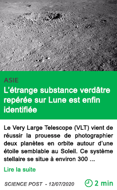 Science l etrange substance verdatre reperee sur lune est enfin identifiee