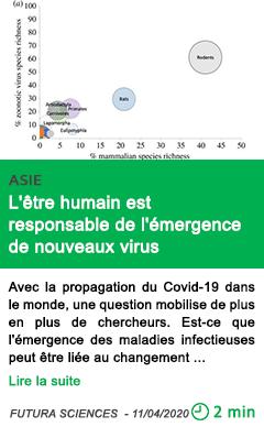 Science l etre humain est responsable de l emergence de nouveaux virus