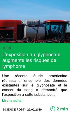 Science l exposition au glyphosate augmente les risques de lymphome page001