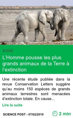 Science l homme pousse les plus grands animaux de la terre a l extinction page001