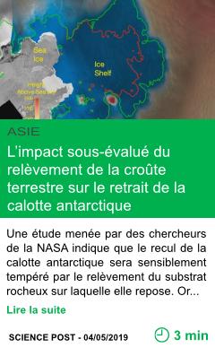 Science l impact sous evalue du relevement de la croute terrestre sur le retrait de la calotte antarctique page001