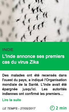 Science l inde annonce ses premiers cas du virus zika
