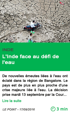 Science l inde face au defi de l eau