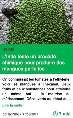 Science l inde teste un procede chimique pour produire des mangues parfaites