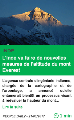Science l inde va faire de nouvelles mesures de l altitude du mont everest