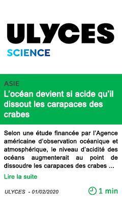 Science l ocean devient si acide qu il dissout les cara paces des crabes