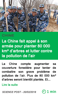 Science la chine fait appel a son armee pour planter 80 000 km d arbres et lutter contre la pollution de l air