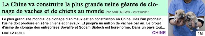 Science la chine va construire la plus grande usine geante de clonage de vaches et de chiens au monde