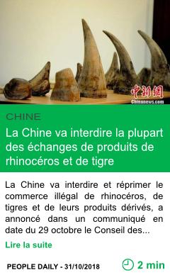 Science la chine va interdire la plupart des echanges de produits de rhinoceros et de tigre page001