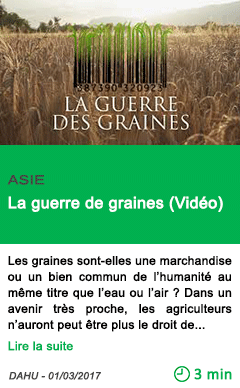 Science la guerre de graines