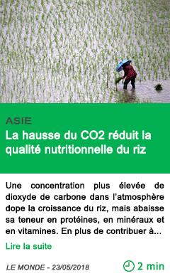 Science la hausse du co2 reduit la qualite nutritionnelle du riz