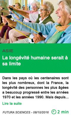 Science la longevite humaine serait a sa limite