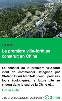 Science la premiere ville foret se construit en chine