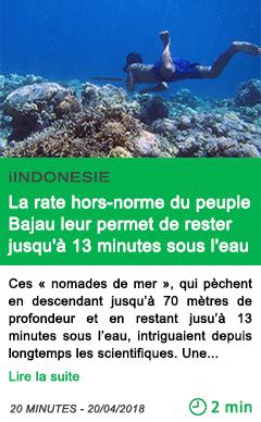 Science la rate hors norme du peuple bajau leur permet de rester jusqu a 13 minutes sous l eau