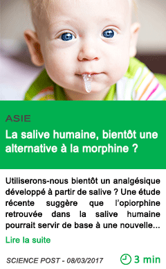 Science la salive humaine bientot une alternative a la morphine