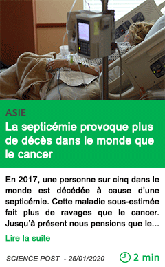Science la septicemie provoque plus de deces dans le monde que le cancer