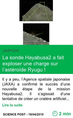 Science la sonde hayabusa2 a fait exploser une charge sur l asteroide ryugu page001