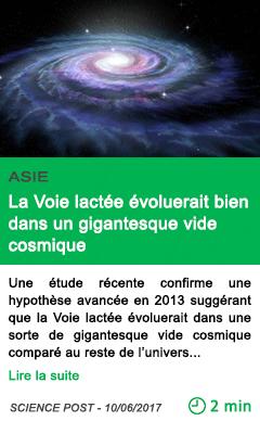 Science la voie lactee evoluerait bien dans un gigantesque vide cosmique