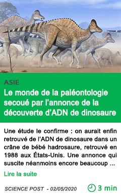 Science le monde de la paleontologie secoue par l annonce de la decouverte d adn de dinosaure