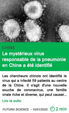 Science le myst c3 a9rieux virus responsable de la pneumonie en chine a c3 a9t c3 a9 identifi c3 a9