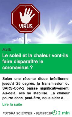 Science le soleil et la chaleur vont ils faire disparaitre le coronavirus