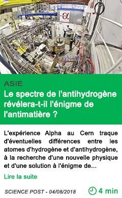 Science le spectre de l antihydrogene revelera t il l enigme de l antimatiere
