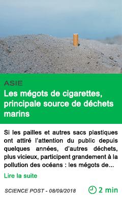 Science les megots de cigarettes principale source de dechets marins