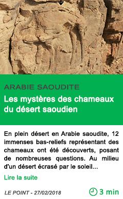 Science les mysteres des chameaux du desert saoudien