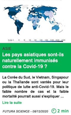 Science les pays asiatiques sont ils naturellement immunise s contre la covid 19