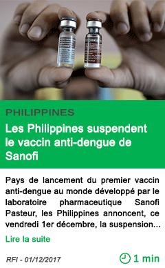 Science les philippines suspendent le vaccin anti dengue de sanofi