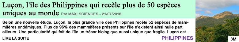 Science lucon l ile des philippines qui recele plus de 50 especes uniques au monde