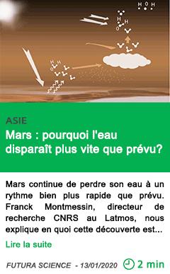 Science mars pourquoi l eau dispara c3 aet plus vite que pr c3 a9vu
