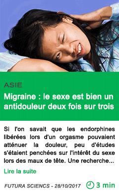 Science migraine le sexe est bien un antidouleur deux fois sur trois