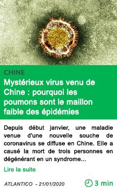 Science mysterieux virus venu de chine pourquoi les poumons sont le maillon faible des epidemies planetaires