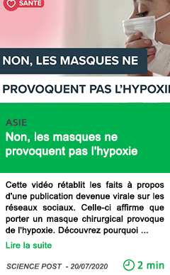 Science non les masques ne provoquent pas l hypoxie