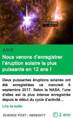 Science nous venons d enregistrer l eruption solaire la plus puissante en 12 ans