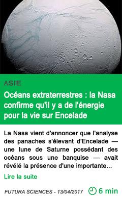 Science oceans extraterrestres la nasa confirme qu il y a de l energie pour la vie sur encelade
