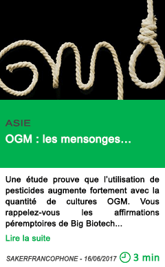 Science ogm les mensonges