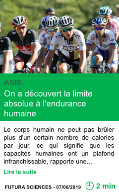 Science on a decouvert la limite absolue a l endurance humaine page001