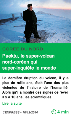 Science paektu le super volcan nord coreen qui super inquiete le monde