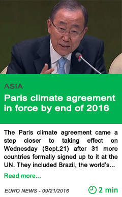 Science paris climate agreement in force by end of 2016