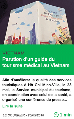 Science parution d un guide du tourisme medical au vietnam